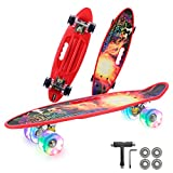 Complete 22 Inch Mini Cruiser Skateboard for Beginner with Sturdy Deck and Light Up Wheels (Red)