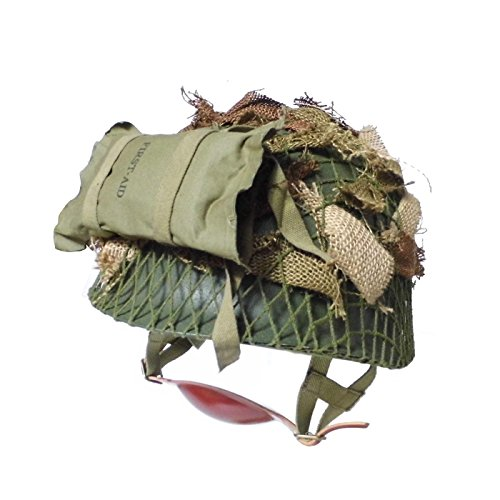 ANQIAO WW2 WWII US Airborne M1C Helmet 506 th Parachute Infantry Jump Version with First Aid Pouch Camouflage Net