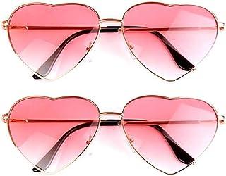 2 paires de lunettes de soleil en forme de cœur pour hippie - Accessoire de déguisement - Légères et rétro - Pour femmes e...