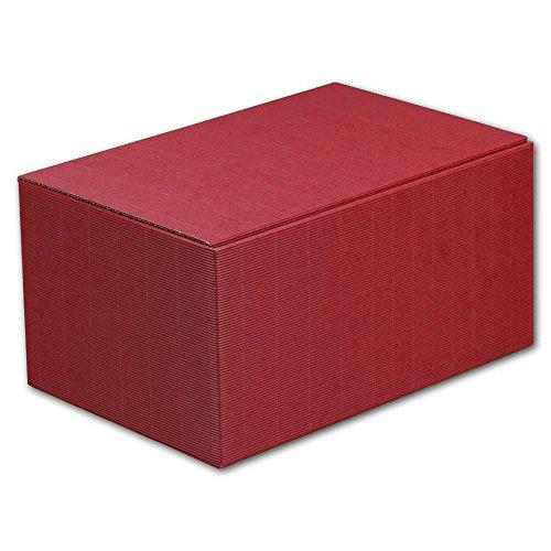 10x 6er Weinkarton, Geschenkkarton, Dunkelrot, Wellpappe, 38 x 25,5 x 19 cm