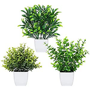 Silk Flower Arrangements 3 Pack Fake Plants Mini Potted Eucalyptus Plant Artificial Small Plastic Topiary Shrubs Greenery in Pots Faux Plants Indoor for Table Desk Bathroom Bedroom Office Home Decor