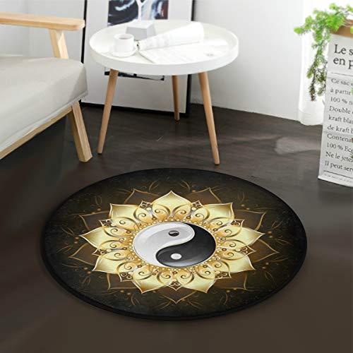 Mnsruu Chinesischer Yin Yang Lotus Blume Teppich, rund, für Wohnzimmer, Schlafzimmer, 92 cm Durchmesser