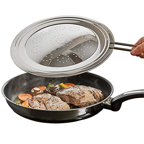 Hot Grease Splatter Screen For Frying Pan Cooking Pot - Oil Stainless Steel Shield to Stop Burn Fan Cover Guard for Cooking Protects Skin - Multi-use Splash Shields