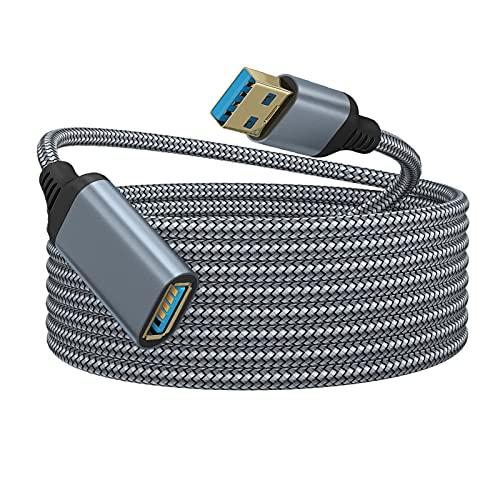 Povanjer Cable de extensión USB, 5 Gbps, USB 3.0, cable de extensión de 2 m de alta velocidad macho a hembra Extensor compatible con cámara de impresora, controlador de juegos de disco duro