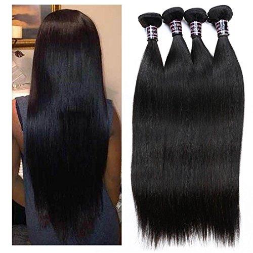 Extensions de Cheveux 8A Non Transformé brésilienne Virgin Hair 4 Bundles Remy Human Hair Extensions brésilienne Hétéro Bundles Cheveux 400g Human Weave Natural Color , 12 14 16 18