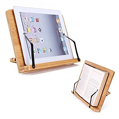 Desktop Book Stands Cookbook Holder Books Rest Reading Stands Tablet Holder Foldable Tray Page Paper Clips Portable Bamboo Bookstand for Books iPad Laptop Textbook Recipe Document Music Piano (Flat)
