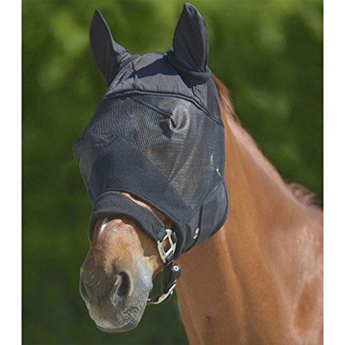 WALDHAUSEN Fliegenmaske Premium mit Ohrenschutz, schwarz, Warmblut