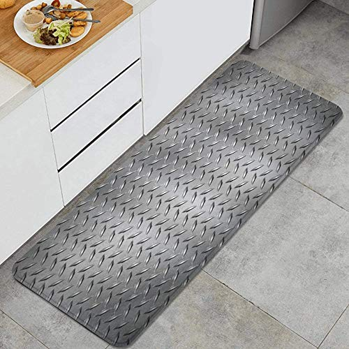 JOSENI Anti-Fatigue Kitchen Floor Mat,Fence Netting Display with Diamond Plate Effects Chrome Motif,Non-Slip Cushioned Door Bedroom Bath Carpet Rug Pad,47.2 x 17.7in