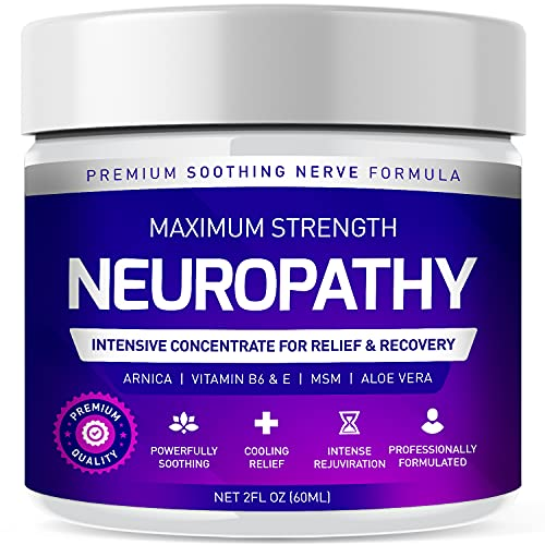 Neuropathy Nerve Therapy & Relief Cream - Maximum Strength Relief Cream for Foot, Hands, Legs, Toes Includes Arnica, Vitamin B6, Aloe Vera, MSM - Scientifically Developed for Effective Relief 2oz