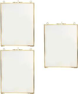 3X金属吊りガラス両面写真額縁-ウォールディスプレイフレーム-乾燥植物花葉標本ディスプレイフレーム-ゴールド、6x8