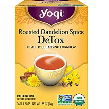 Yogi Tea - Roasted Dandelion Spice DeTox Tea  6 Pack  - Healthy Cleansing Formula with Dandelion Root and Traditional Spices - Caffeine Free - 96 Organic Herbal Tea Bags