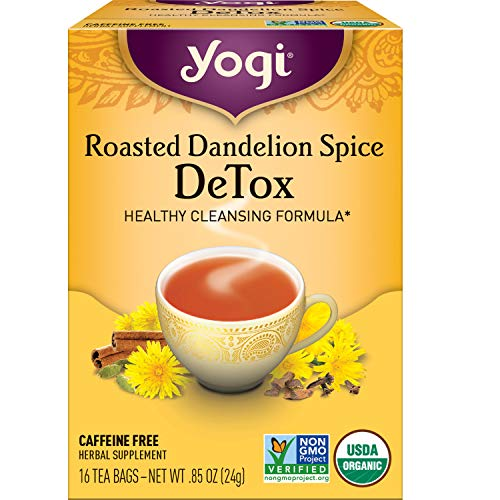 Yogi Tea - Roasted Dandelion Spice DeTox - Healthy Cleansing Formula - 6 Pack, 96 Tea Bags Total