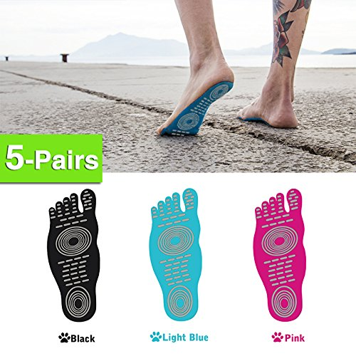 5 Pairs Barefoot Adhesive Foot Pad , Waterproof Anti-skid Beach Invisible Shoes, Stick