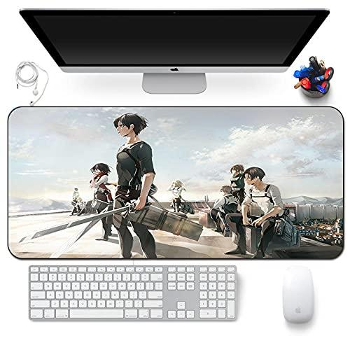 Alfombrilla de ratón de anime de Attack on Titan antideslizante de goma para juegos, alfombrilla de ratón de anime, color negro, 800 x 300 x 3 mm, A_800 x 300 x 3 mm