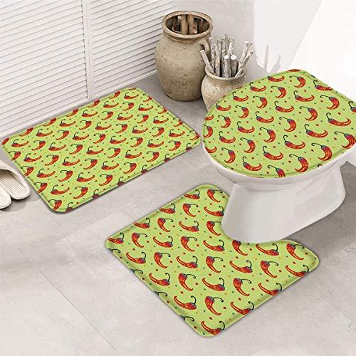 hooya Conjuntos de alfombras y tapetes de baño de 3 Piezas, Alfombra de baño, Cubierta de Asiento de Inodoro, Alfombrilla de baño en Forma de U - Chile Mexicano Cinco de Mayo Rojo y Verde
