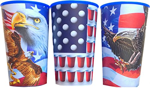 American Pride Fourth Of July American Eagle, Beer Pong Reusable Souvenir Party Favor Cups 22 Oz Set Of 3