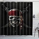 EricauBird Duschvorhang Pirat Duschvorhang mit Ringen Polyestergewebe Duschvorhänge mit Haken Bad Badezimmer Dekor