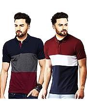 Leotude Men's Regular Fit Polo Multi Color T-Shirt (Pack of 2)