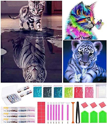 Bellatoi DIY 5D Diamante Pintura Kits, Gato y tigre Diamante Pintura por Número Kit,Rhinestone Bordado de Punto de Cruz Artes Manualidades Lienzo Pared Decoración