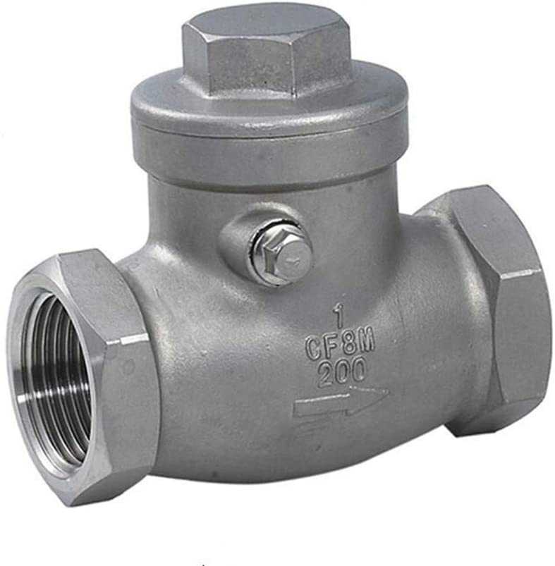 DINGGUANGHE 1//2 Inch DN15 Check Valve Stainless Steel Valvula One Way Swing Check Valve Female Thread WOG 200PSI Air Compressor Valve Specification : 1//2, Thread Type : BSP