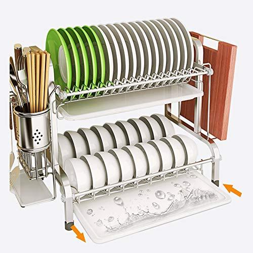 Estante de secado de platos, 2 niveles 304 de acero inoxidable con tabla de drenaje, soporte para tabla de cortar y escurridor para encimera de cocina