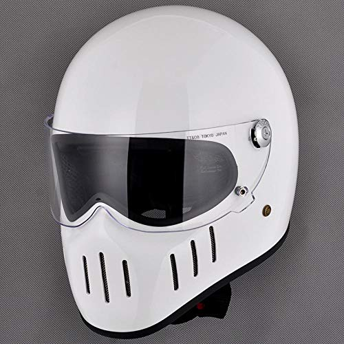 SHUHANX Casco Moto Vintage Casco Integrale Casco in vetroresina-Gloss_White_S