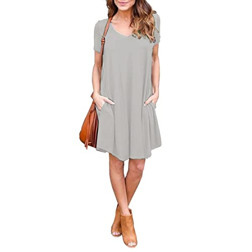 f826750f724 Jouica Women s Pockets Casual Plain Flowy Simple Swing T-Shirt Loose Dress
