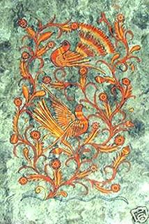 Orange Peacock - oriental - mexican bark painting