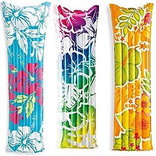 Colchon de Aire Flowers (183 x 69 cm)- 1 colchon de Aire- Hinchable- Tumbona- Flotador- Flotador- Anillo de flotacion- Piscina- Lounge- Ondas- Flores- Estampado Floral