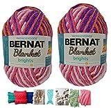 Big Ball Blanket Yarn Bundle by Bernat Plus 6 Blanket Yarn Patterns Super Bulky #6 10.5 Ounce Ball 220 Yards (Jump Rope Varg)