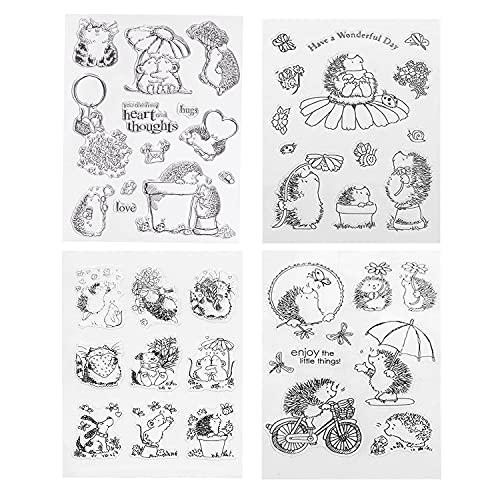 Silikonstempel Tiere Set - Clear Stamp Igel - Prägung Stempel - Stempel Silikon - Animal DIY Stempel Für DIY Album Scrapbooking Fotokarten Dekor
