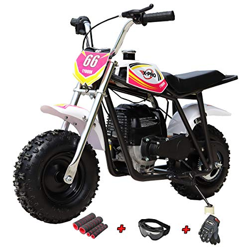 X-PRO 40cc Mini Dirt Bike Mini Pit Bike Dirt Bikes Motorcycle Gas Power Bike Off Road with Gloves, Googles and Face Mask (Pink)