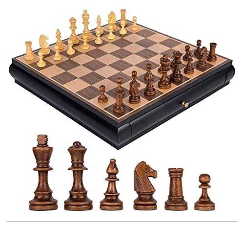 L.J.JZDY Schachbrett Hölzerne Schach Massivholz Doppelschublade Typ Chess Board Chess Set Spiel Das Brettspiel Set für Erwachsene oder Kinder gewidmet