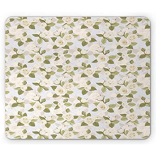 Pastellmausunterlage, getonte Elfenbein-Rosen-englischer Garten-ununterbrochenes Muster-Natur-Kunst Mousepad, Baby-Blau und Mehrfarben