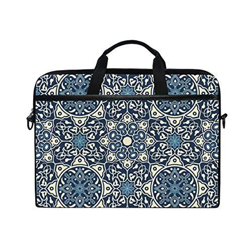 VICAFUCI New 15-15.4 Zoll Laptop Tasche,Umhängetasche,Handtasche,Antikes Fliesen-mit Blumenmuster in empfindlichem altmodischem dekorativem künstlerischem