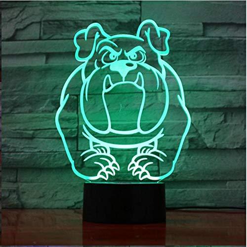 Luz de noche de ilusión 3DLuz nocturna LED Bulldog 3D con múltiples cambios de color, mascotas de dibujos animados, regalos de cumpleaños para niños, juguetes lindosAtmósfera activa