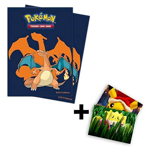 Lively Moments Pokemon Karten / Sammelkarten Hüllen Ultra-Pro Standard / 65 Stück mit Glurak Motiv / Schutzhüllen + Exklusive GRATIS Grußkarte