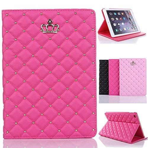 Inspirationc® iPad-Schutzhülle, mit Kronenmuster, robust, Leder, Flip Smart Cover für Apple iPad Bling Diamant Schutzhülle mit Ständer iPad Air 2/iPad 6 rosarot