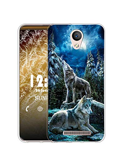 Sunrive Kompatibel mit DOOGEE X6 Pro Hülle Silikon, Transparent Handyhülle Schutzhülle Etui Hülle (Q Wolf 1)+Gratis Universal Eingabestift MEHRWEG