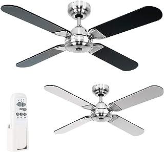 MiniSun - Moderno Ventilador de Techo Silencioso con Mando a Distancia/Tamaño 106cm - 4 Aspas Reversibles en Negro y Gris - 3 Velocidades - Motor DC Frío/Calor