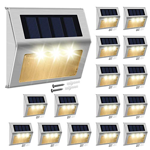 Solar Fence Lights Outdoor,JACKYLED 16-Pack Solar Step Lights Stainless Steel 3 LED Solar Powered Deck Lights,Weatherproof 3000k Warm White Light Outdoor Lighting for Deck Stairs Garden Yard