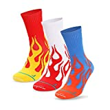 Basketball Socks 3-Pairs Cushioned Athletic Running Socks for Men and Women Dri-Tech Moisture-Wicking Crew Socks (Red, White, Blue)