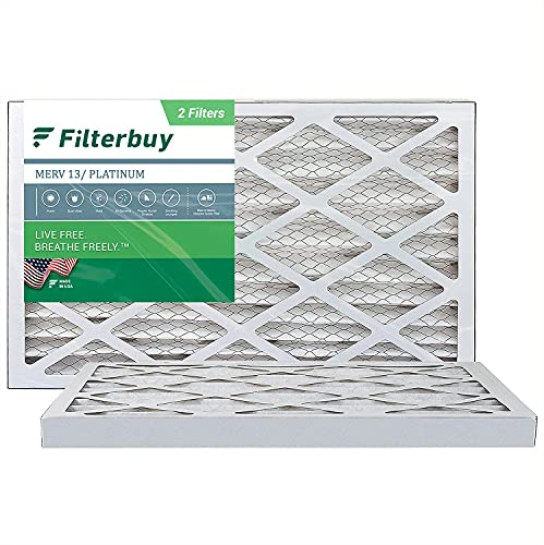 FilterBuy 16x30x2 Air Filter MERV 13, Pleated HVAC AC Furnace Filters (2-Pack, Platinum)
