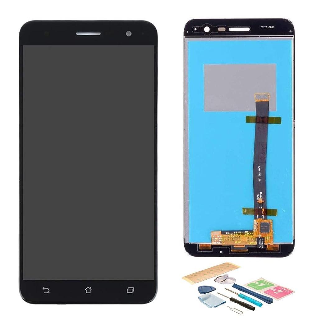 反毒トリクルバルクこれは Asus Zenfone3 ZE520KL 修理交換用 フロントパネル タッチパネル LCD液晶 画面 ディスプレイ デジタイザ アセンブリフロント + 修理工具セット+3M接着剤 付属 黒