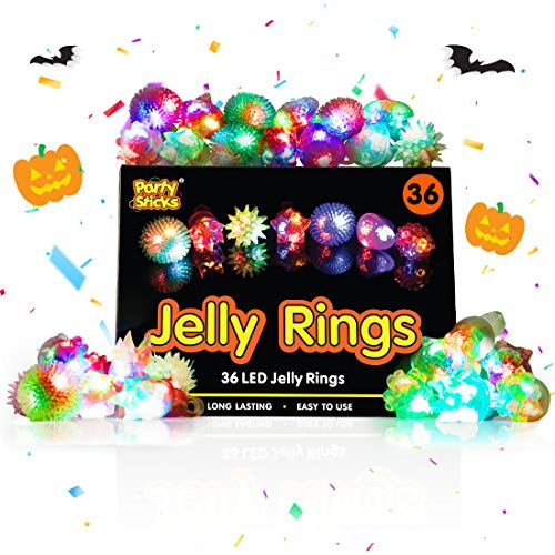 Party Sticks Light Up Jelly Rings - 36pk LED Party Favors, Glow in the Dark Party Supplies for Kids and Adults in Assorted Colors