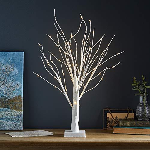 Lights4fun Alberello Luminoso Bianco con 108 LED Bianchi Caldi a Pile per Interni