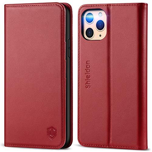 SHIELDON Hülle für iPhone 11 Pro, Lederhülle [Erstklassiges Rindsleder] [RFID Schützt] [Lifetime Garantie], Handyhülle Magnet Kartenfach [Auto Sleep/Wake] Schutzhülle für iPhone 11 Pro 5,8 Kirschrot