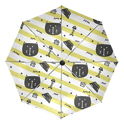 Kompakter Reise-Regenschirm, Katzenfutter-Muster, faltbar, wendbar, winddicht, verstärkter Schirm, UV-Schutz, ergonomischer Griff, automatisches Öffnen/Schließen