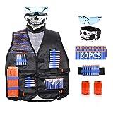 Kit de chaleco táctico compatible con pistolas Nerf N-Strike Elite Series-con 60 dardos de repuesto, 1 banda de muñeca de mano, 1 máscara táctica, 1 gafas protectoras, 2 clips de recarga rápida