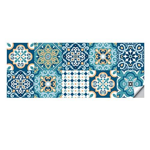 Dzmuero Azulejos Adhesives,10 Piezas Cenefas Adhesivas,20cm*20cm Pegatinas Renovación pared Cocina Azulejos Cerámica Estilo Europeo Pegatinas de pared Estéreo 3D Impermeables y a Prueba de Aceite